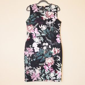 Floral Calvin Klein Scuba Sheath Dress